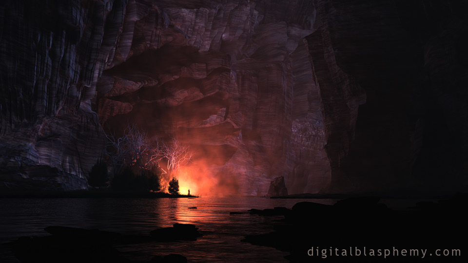 Digital Blasphemy 3D Wallpaper: Painted Canyon (Night) by ...