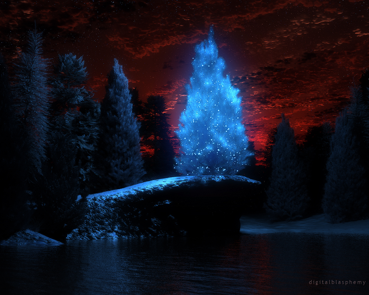 Digital Blasphemy 3D Wallpaper: Blue Christmas (Christmas ...